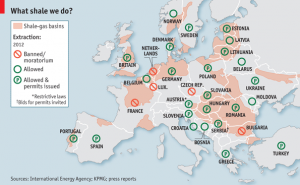 Shale gas in Europe. Image via The Economist.